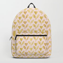 Luxe Rose Gold Foil Christmas Holly Berries Heart Pattern, Seamless Backpack