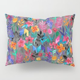 Popping Color Painted Floral on Grey Pillow Sham