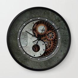 Industrial Steampunk Yin Yang with Gears Wall Clock