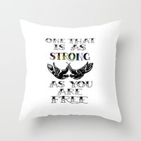 larry stylinson Throw Pillows featuring One that's strong as you are free (Larry Stylinson) by Arabella