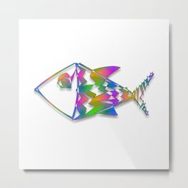 Colorful Abstract Fish Newsprint Metal Print