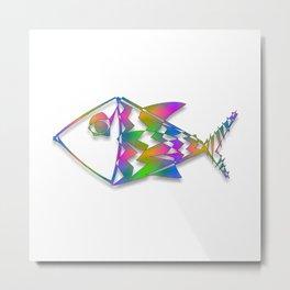 Colorful Abstract Fish Newsprint Metal Print