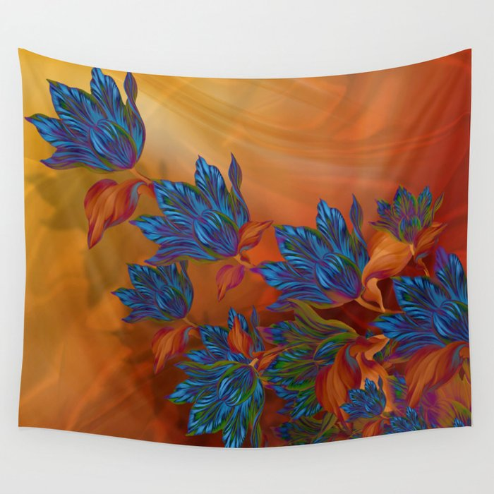 """""""Blue flowers on orange silk"""" (Air Spring at night) Wall Tapestry"""