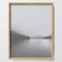Foggy Lake   Landscape Photography   B&W Art Prints   Misty Forest   Nature   Smokey Mountains Serving Tray