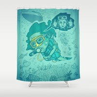 karen Shower Curtains featuring Karen the Diver by Timo Ambo