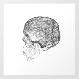 skull trails black Art Print