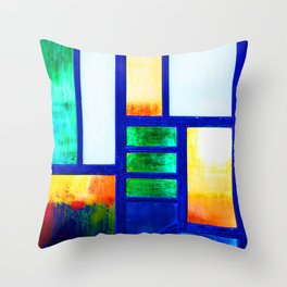 Art Deco Colorful Stained Glass Throw Pillow