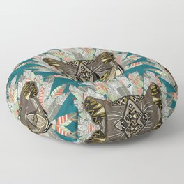 native mountain lion blue Floor Pillow