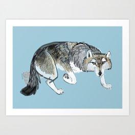 Totem Hokkaido grey wolf (Blue) Art Print