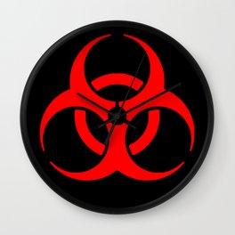 Red Bio Hazard Warning Symbol on Black Wall Clock