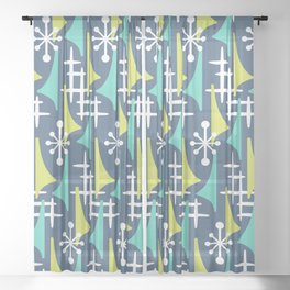 Mid Century Modern Atomic Wing Composition 55 Blue Turquoise and Chartreuse Sheer Curtain