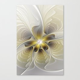 Gold And Silver, Abstract Flower Fractal Canvas Print