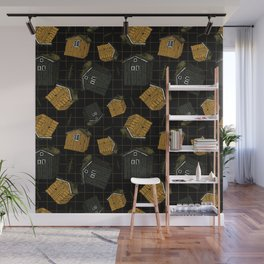 Canadian or scandinavian yellow and black wooden houses Wall Mural