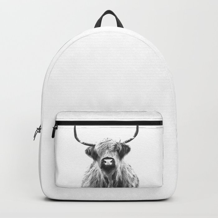 Black and White Highland Cow Portrait Rucksack