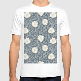 Modern green blue ivory hand painted floral T-shirt