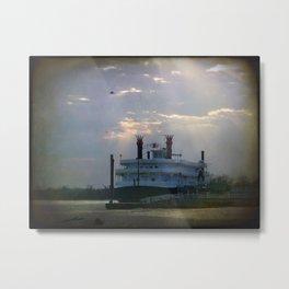 Mississipi River Winter Riverboat Metal Print