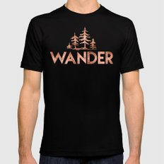WANDER Rose Gold Trees Tshirt in the Forest Quote Text Mens Fitted Tee Black MEDIUM