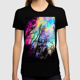 Black Trees Colorful space. T-shirt