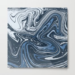 Navy Blue Liquid Marble Metal Print