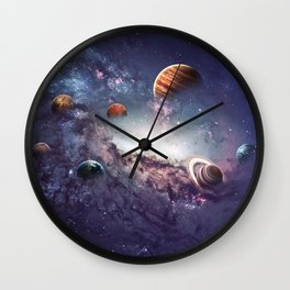 planets of the solar system galaxy Wall Clock