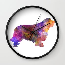 Clumber spaniel dog in watercolor Wall Clock