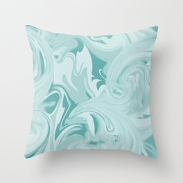 Blue Green Marble Throw Pillow