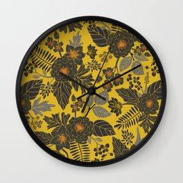 Mustard Yellow, Blue-Gray & Red Floral/Botanical Pattern Wall Clock