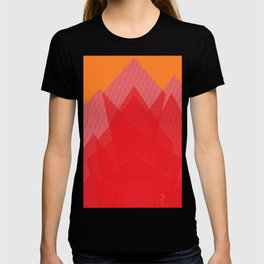 Colorful Red Abstract Mountain T-shirt