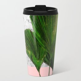 Palm Plant on Marble and Pastel Wall Travel Mug