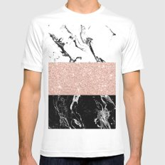 Modern black white marble rose gold color block stripes pattern Mens Fitted Tee White MEDIUM