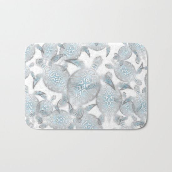 Silver Turtles Pattern Bath Mat