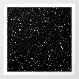 Glitter Stars2 - Silver Black Kunstdrucke