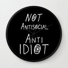 NOT Anti-Social Anti-Idiot - Dark BG Wall Clock