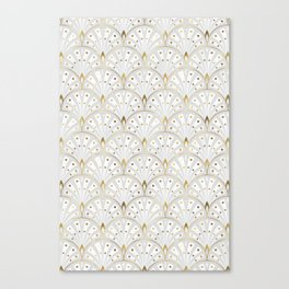 marble and gold art deco scales pattern Canvas Print
