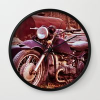 moto Wall Clocks featuring Vintage Moto by Eduard Leasa Photography