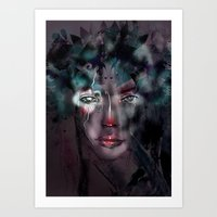 fairy Art Prints featuring fairy by Irmak Akcadogan