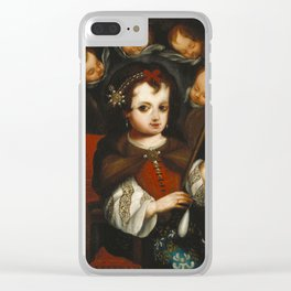 Virgin Mary Spinning Clear iPhone Case