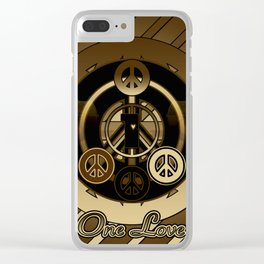 One Love (Brown) Clear iPhone Case