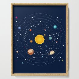 Cartoon illustration of solar system and planets around sun Serving Tray