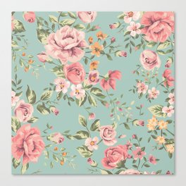 Wild Roses with blue background Canvas Print