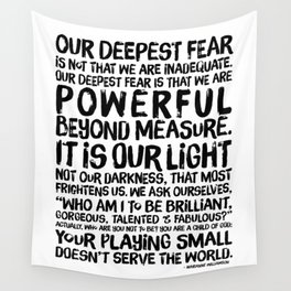 Inspirational Print. Powerful Beyond Measure. Marianne Williamson, Nelson Mandela quote. Wall Tapestry