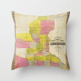 Chapman's New Sectional Map of Minnesota (1856) Throw Pillow