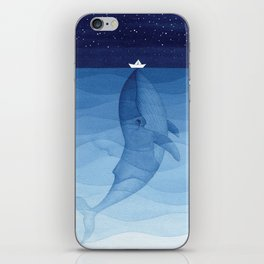 Whale blue ocean iPhone Skin