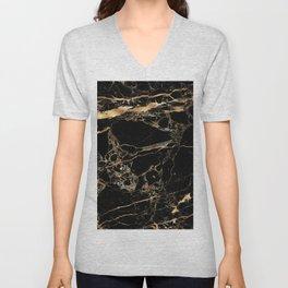 Marble, Black + Gold Veins Unisex V-Neck