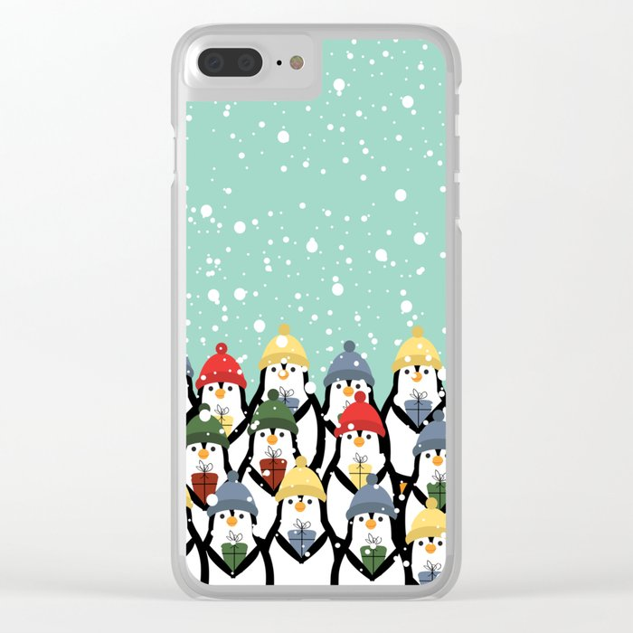 Christmas penguins Clear iPhone Case