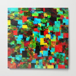 psychedelic geometric square pixel pattern abstract in red blue green yellow Metal Print