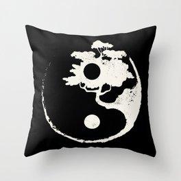 Ying Yang Bonsai Tree Enso Circle Zen Throw Pillow
