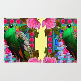 PINK ROSES & GREEN PEACOCK YELLOW GARDEN FLORAL ABSTRACT Rug