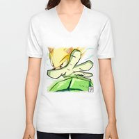 kindle V-neck T-shirts featuring Light in Doomsday by garciarts