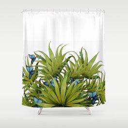 """El Bosco fantasy, tropical island blue butterflies 02"" Shower Curtain"